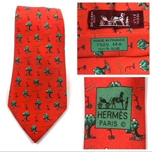 HERMES Paris 7929 MA Silk Neck Tie Windy Trees Red